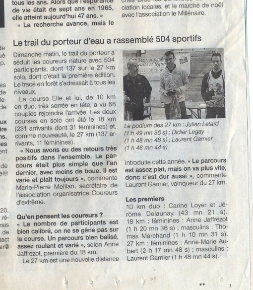 Article Ouest France 10/12/2015